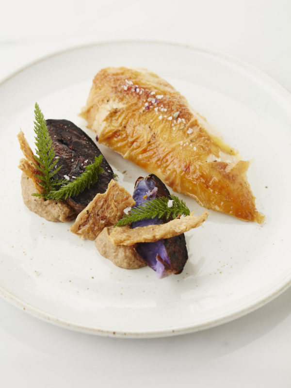 Chicken, Aubergine, Truffle Potato, Elixir d'Anvers